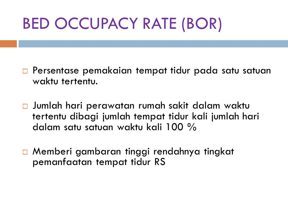 BED OCCUPACY RATE (BOR)