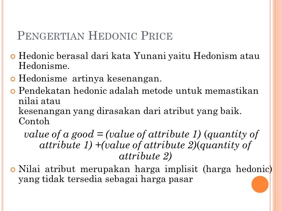Pengertian Hedonic Price