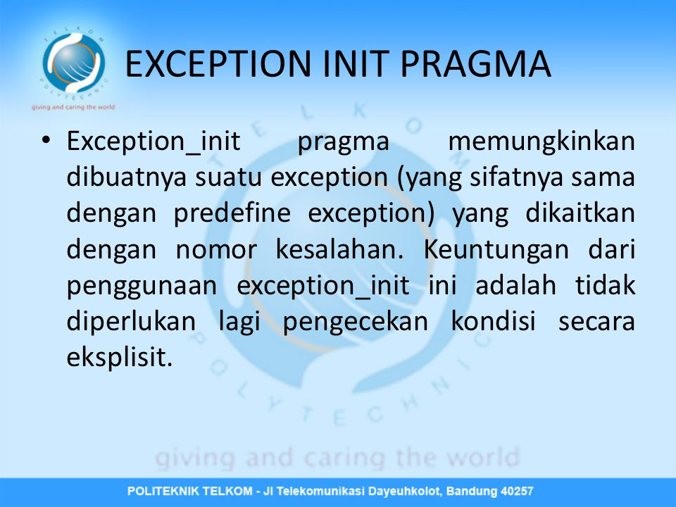 EXCEPTION INIT PRAGMA