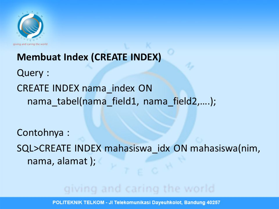 Membuat Index (CREATE INDEX)