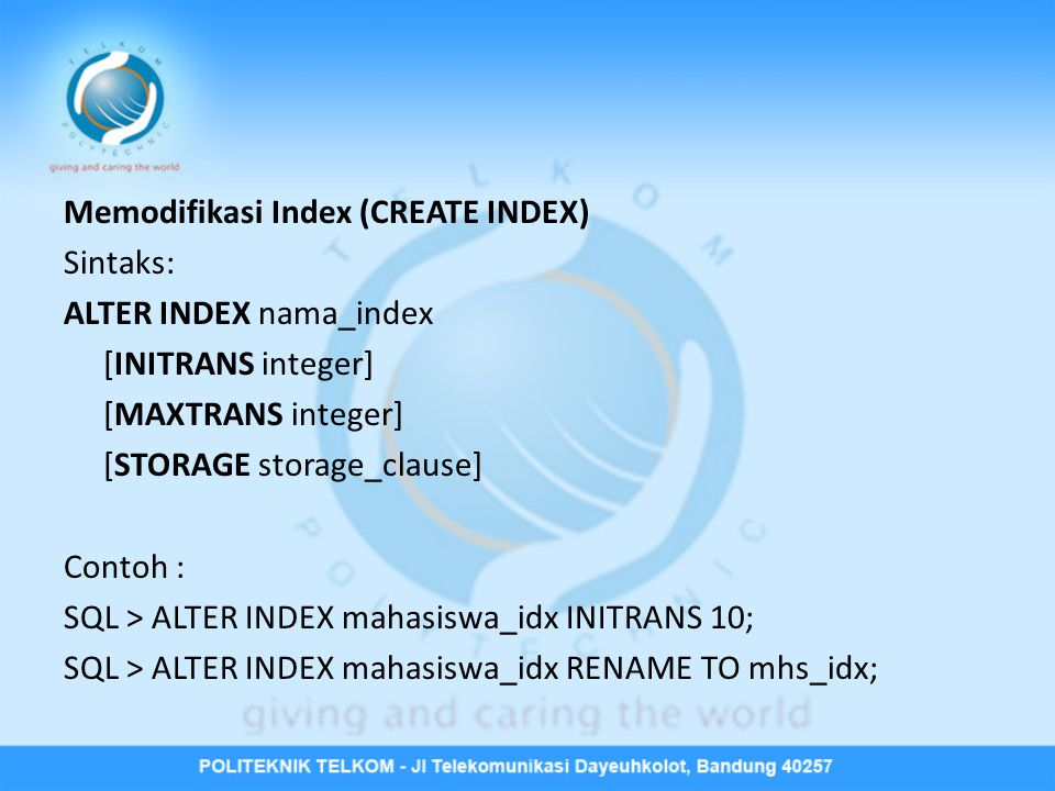 Memodifikasi Index (CREATE INDEX)