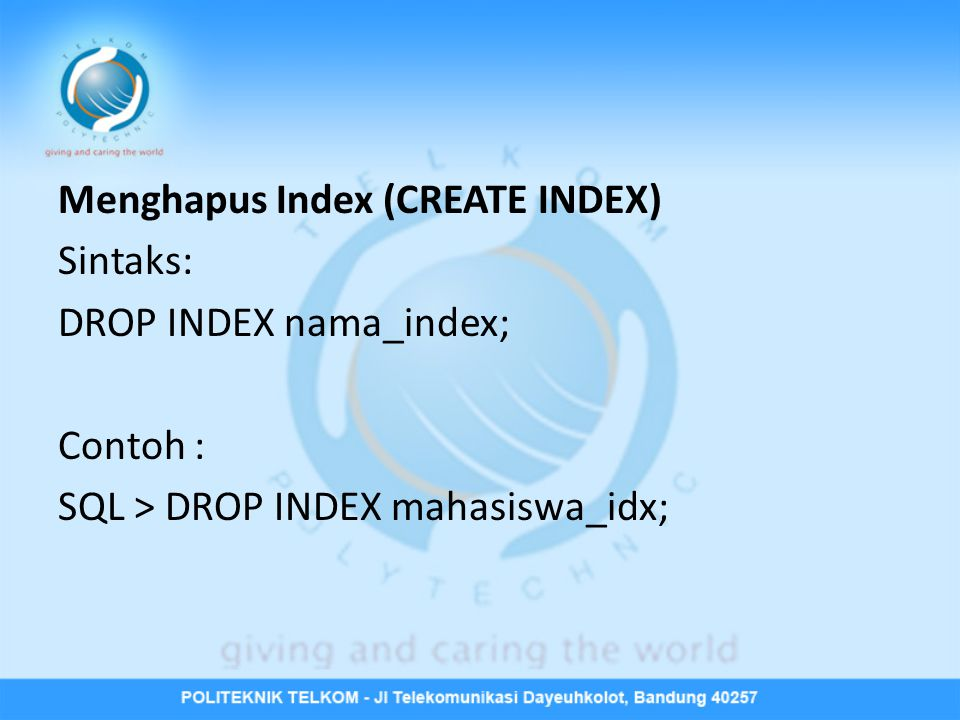 Menghapus Index (CREATE INDEX)