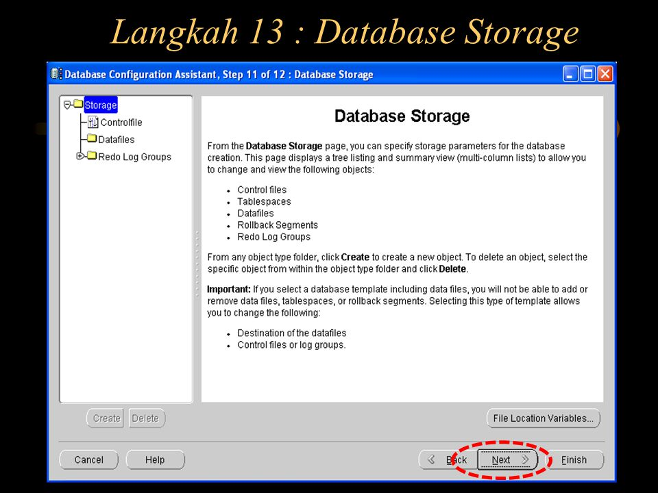 Langkah 13 : Database Storage