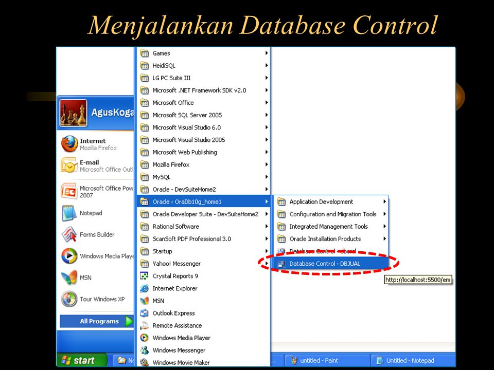 Menjalankan Database Control
