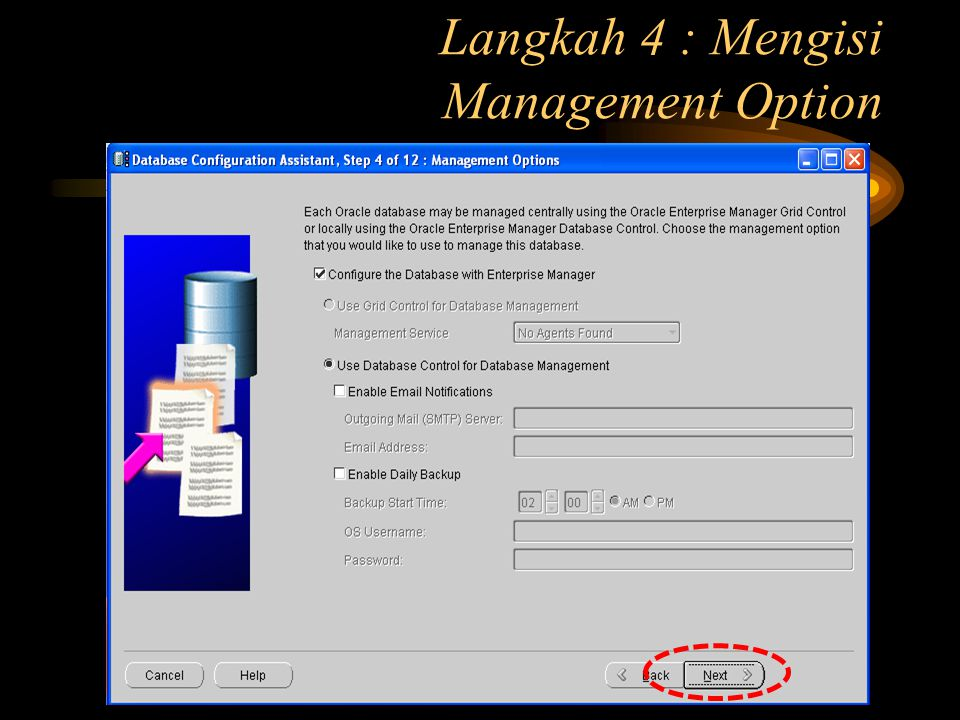 Langkah 4 : Mengisi Management Option