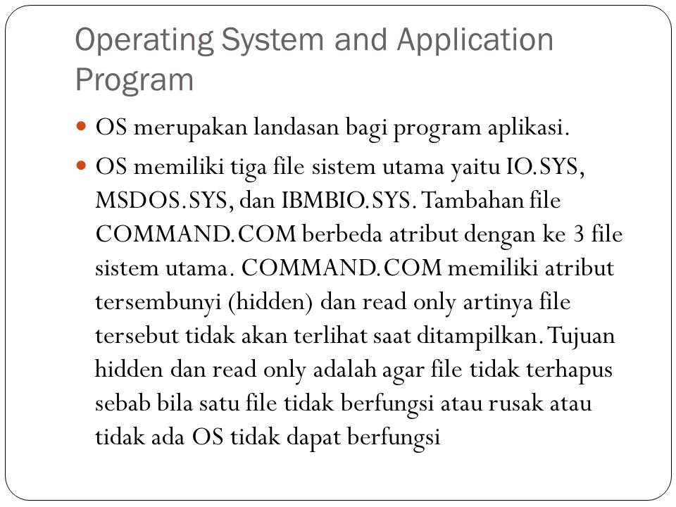 Operating System and Application Program