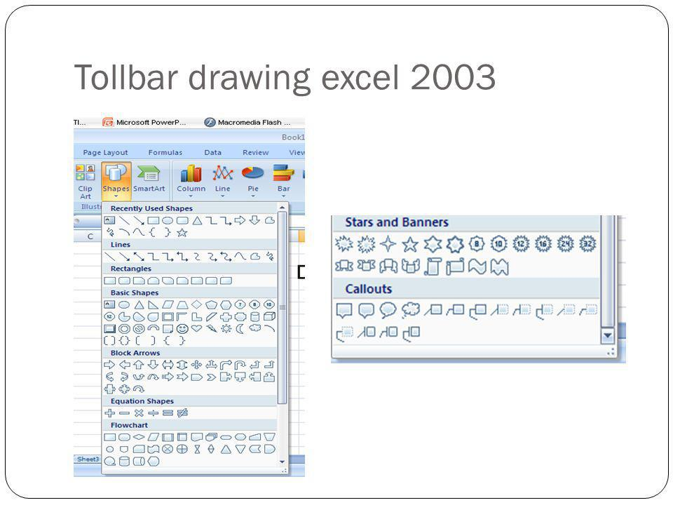 Tollbar drawing excel 2003
