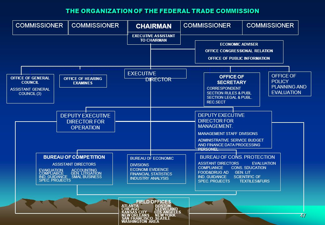 THE ORGANIZATION OF THE FEDERAL TRADE COMMISSION