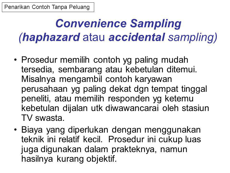 Convenience Sampling (haphazard atau accidental sampling)