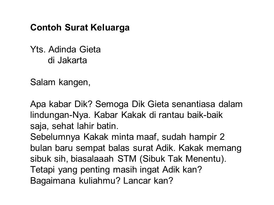 Bahasa Indonesia Surat Keluarga Dan Surat Dinas Ppt Download