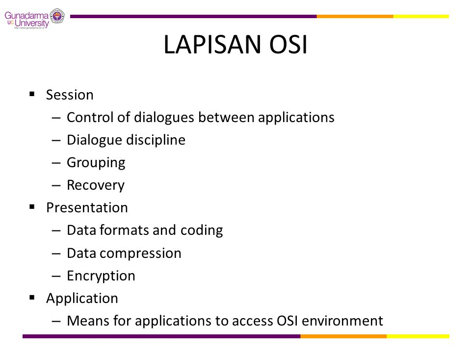 LAPISAN OSI Session Control of dialogues between applications
