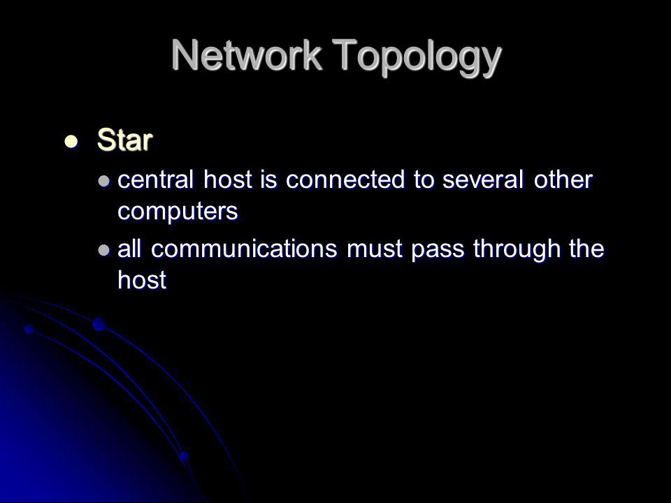 Network Topology Star. central host is connected to several other computers.