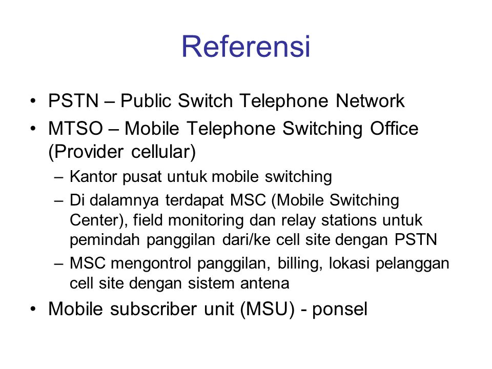 Referensi PSTN – Public Switch Telephone Network