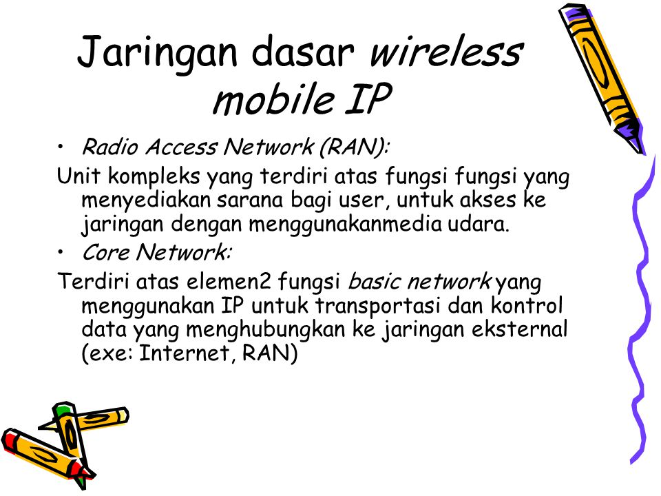 Jaringan dasar wireless mobile IP