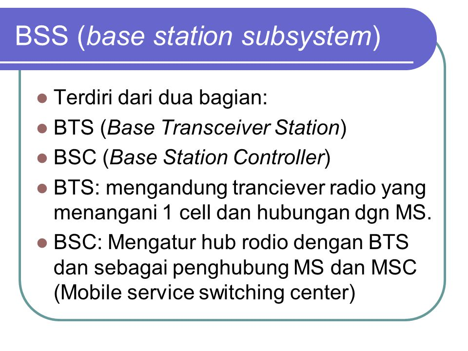 BSS (base station subsystem)