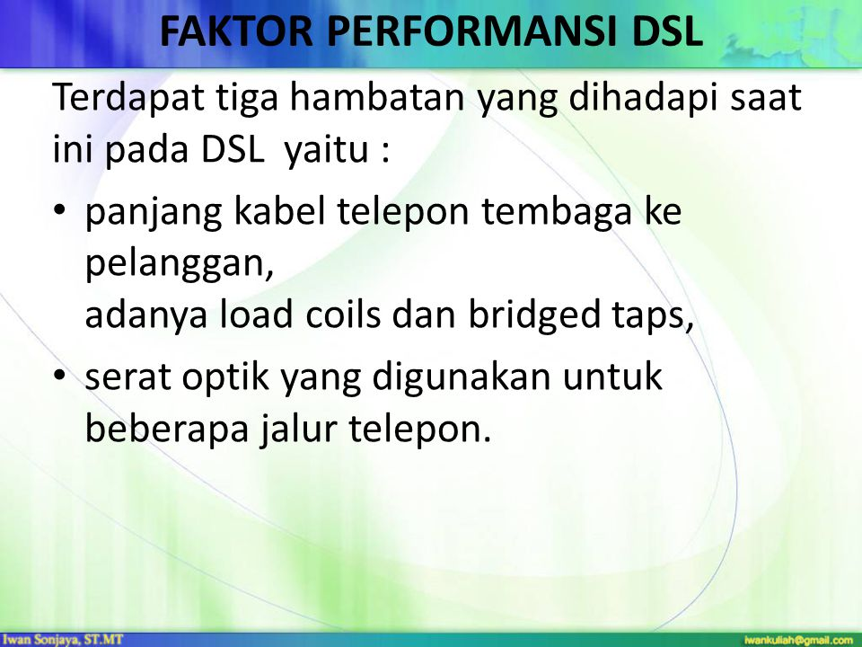 FAKTOR PERFORMANSI DSL