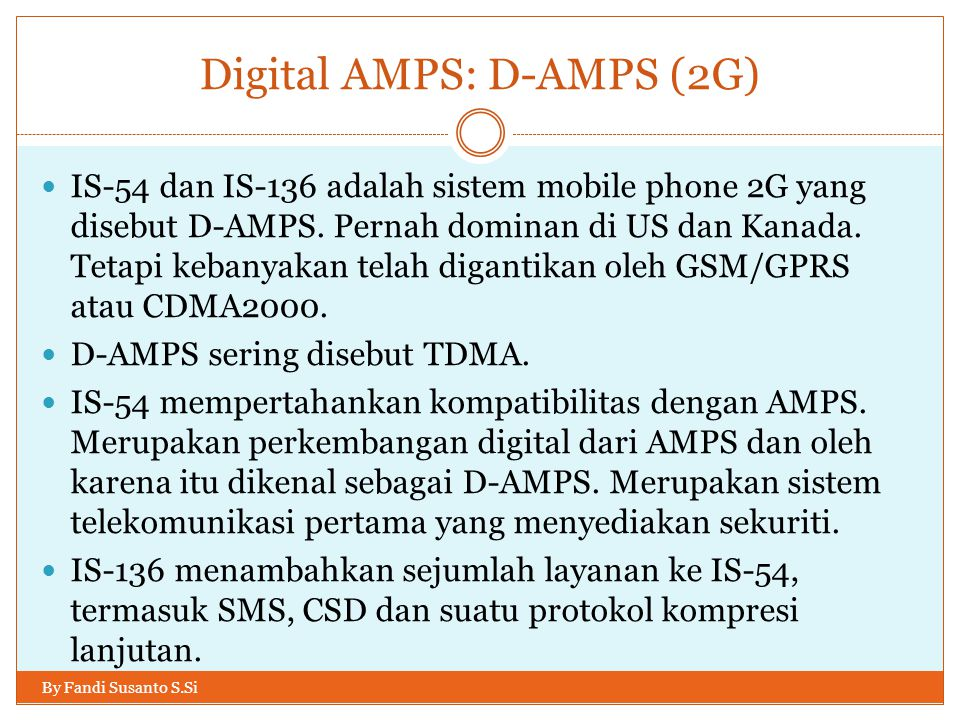 Digital AMPS: D-AMPS (2G)