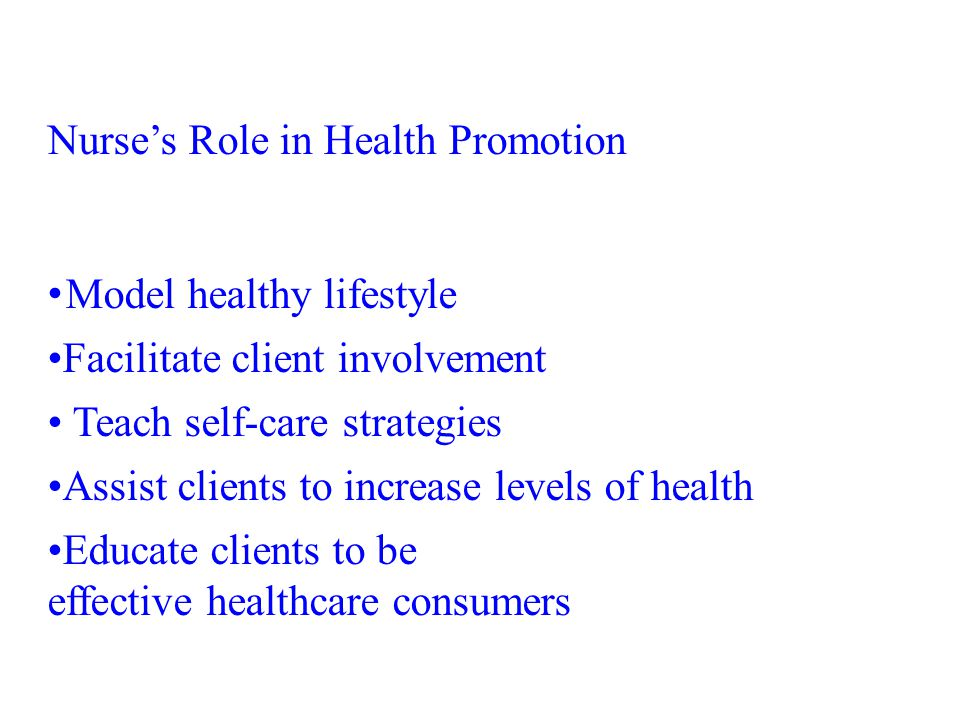 Nurse's Role in Health Promotion
