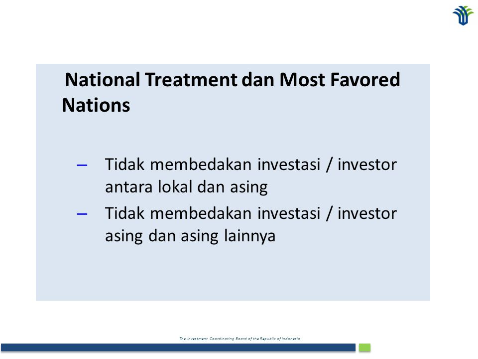 National Treatment dan Most Favored Nations