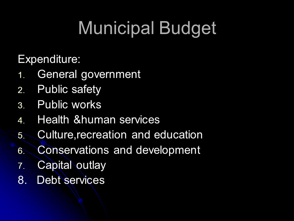 Municipal Budget Expenditure: General government Public safety