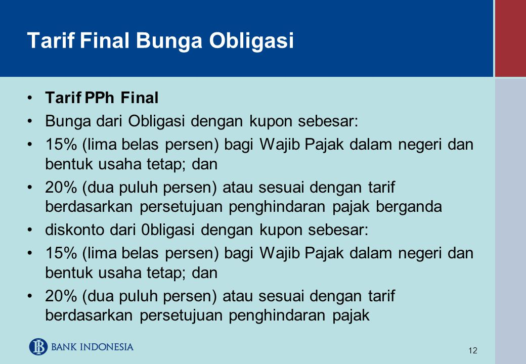 Tarif Final Bunga Obligasi