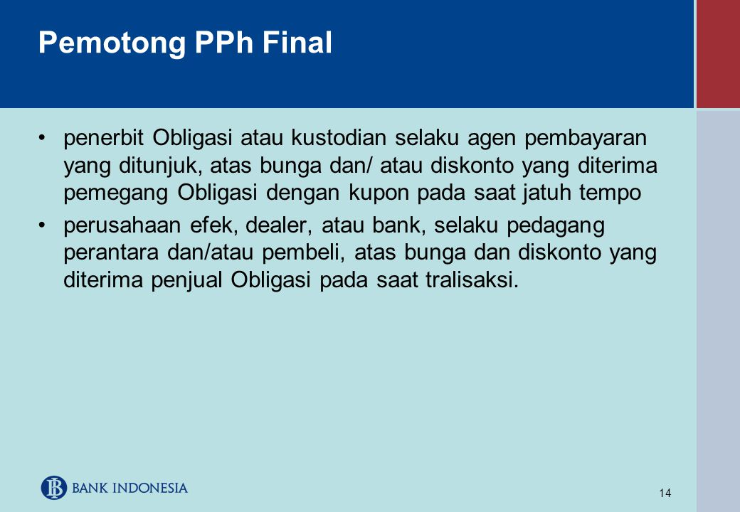 Pemotong PPh Final