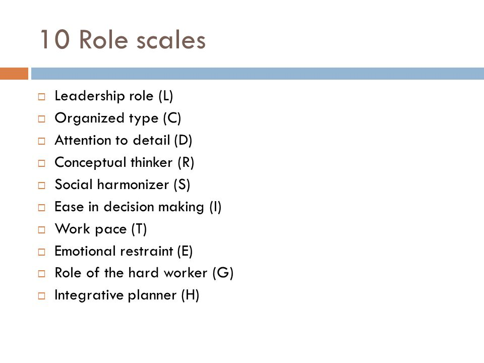 10 Role scales Leadership role (L) Organized type (C)