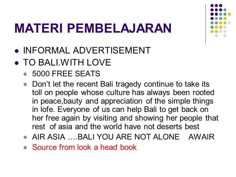 MATERI PEMBELAJARAN INFORMAL ADVERTISEMENT TO BALI.WITH LOVE