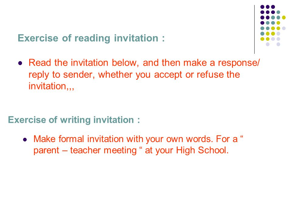 Exercise of reading invitation :