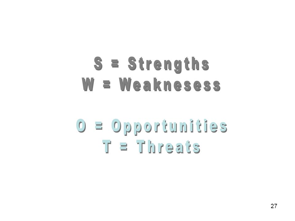 S = Strengths W = Weaknesess O = Opportunities T = Threats