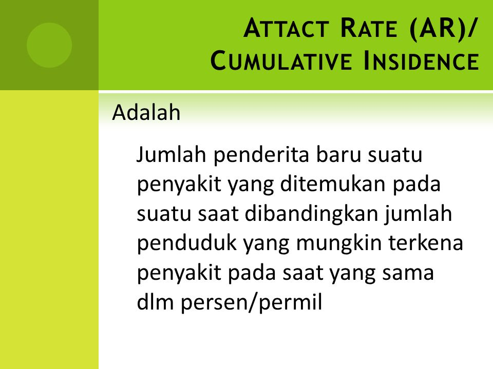 Attact Rate (AR)/ Cumulative Insidence