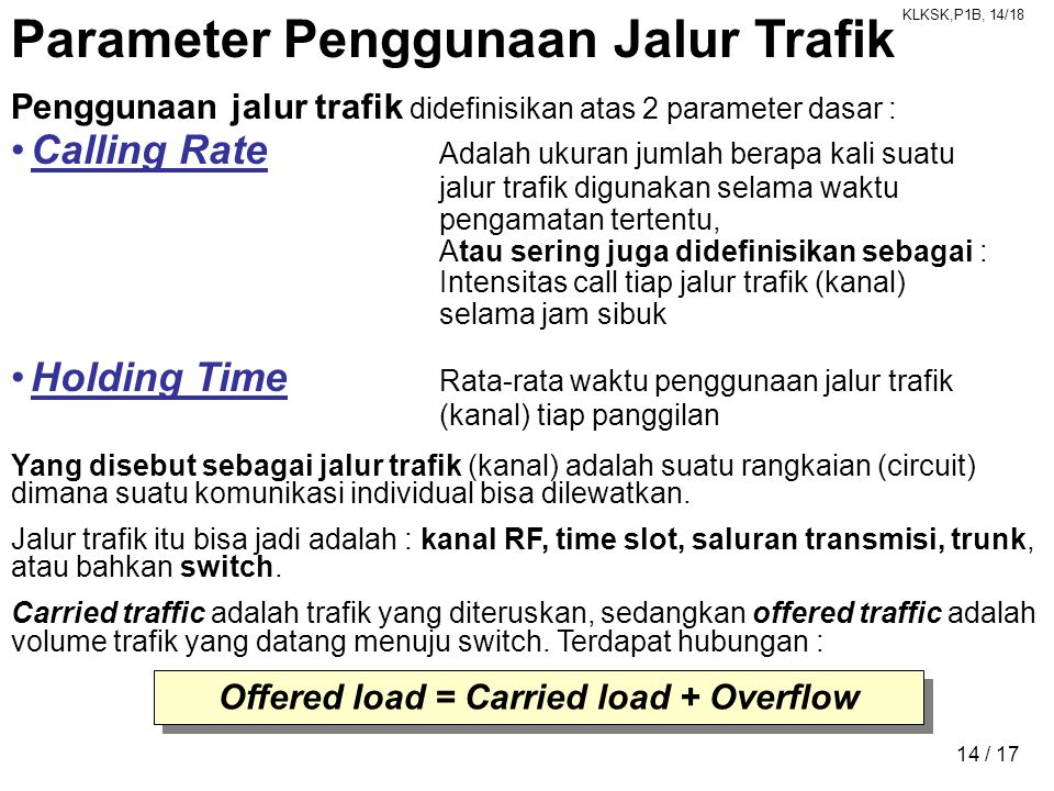 Offered load = Carried load + Overflow