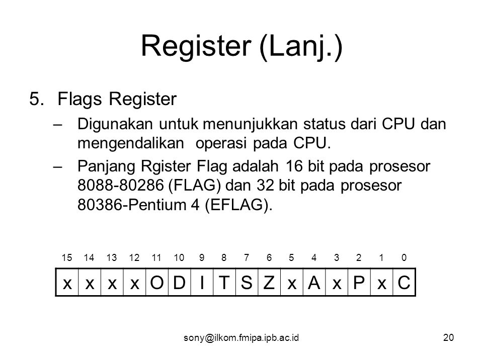Register (Lanj.) Flags Register x O D I T S Z A P C