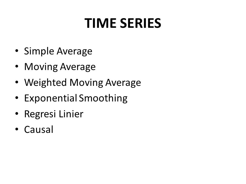 TIME SERIES Simple Average Moving Average Weighted Moving Average