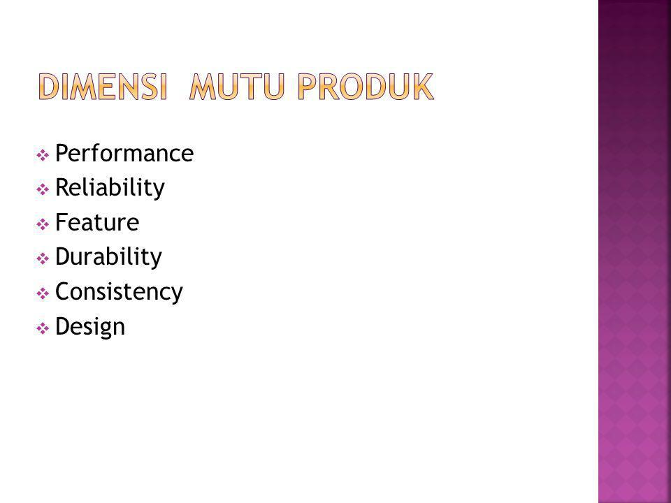Dimensi Mutu Produk Performance Reliability Feature Durability