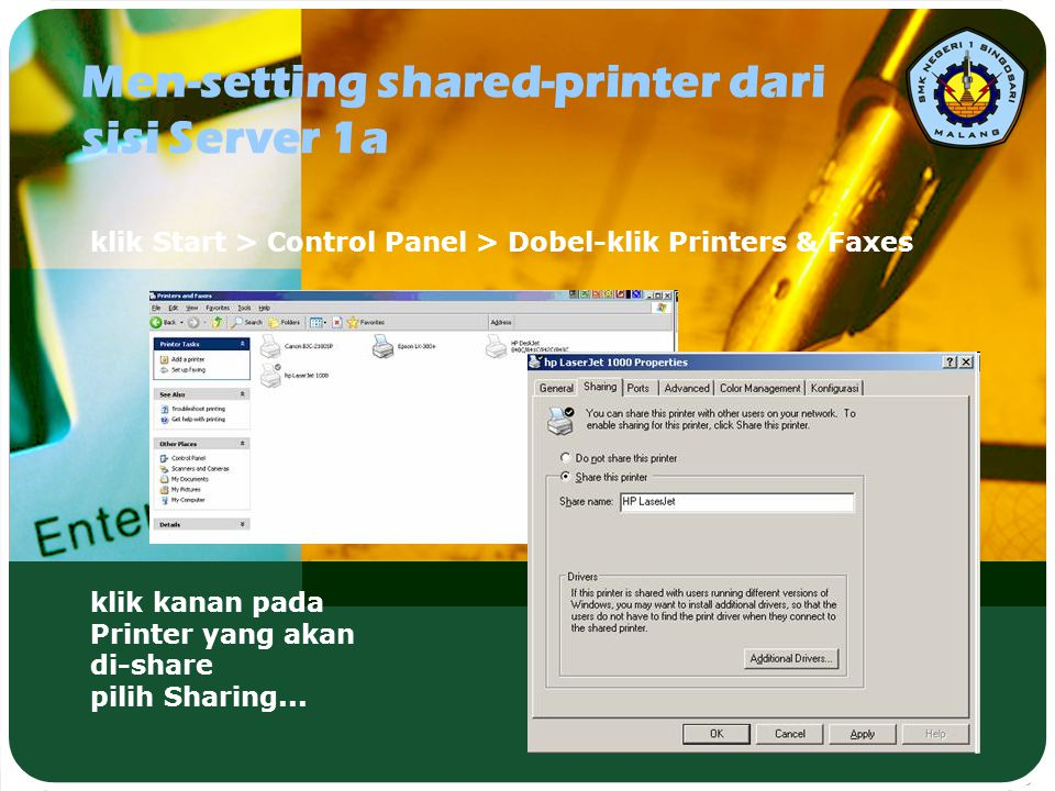 Men-setting shared-printer dari sisi Server 1a