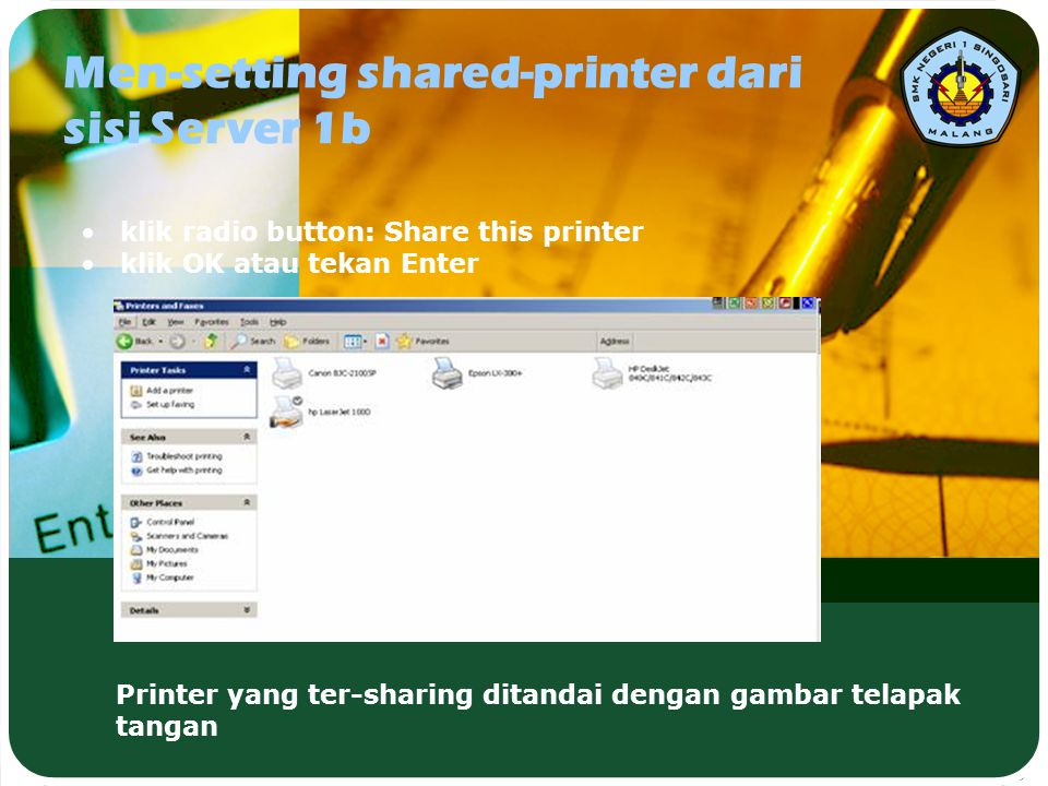Men-setting shared-printer dari sisi Server 1b