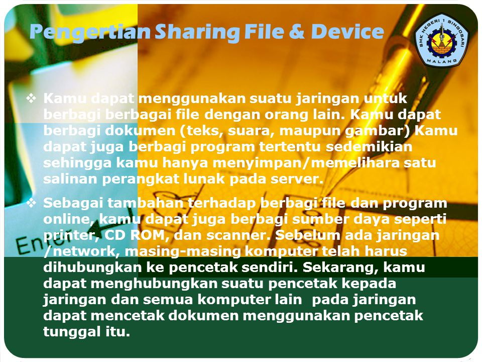 Pengertian Sharing File & Device