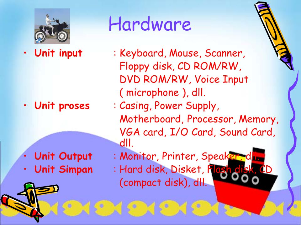 Hardware Unit input : Keyboard, Mouse, Scanner,