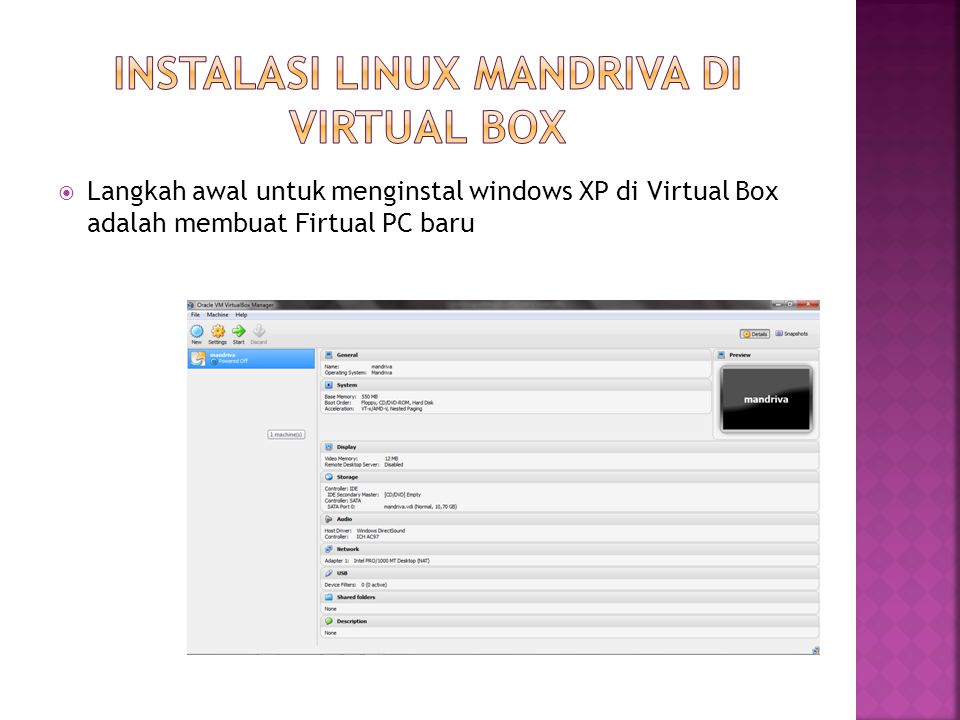 Instalasi Linux Mandriva di Virtual Box