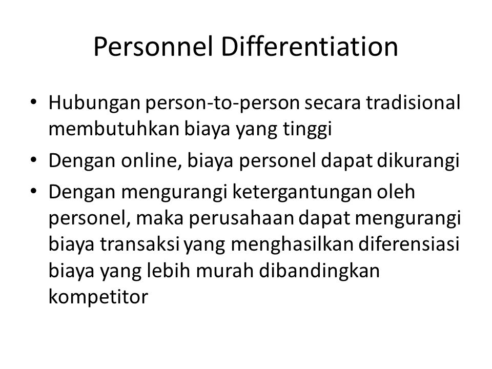 Personnel Differentiation