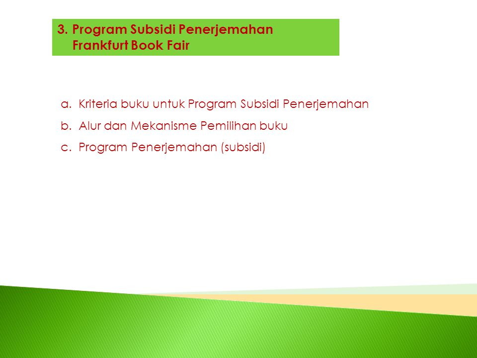 3. Program Subsidi Penerjemahan Frankfurt Book Fair