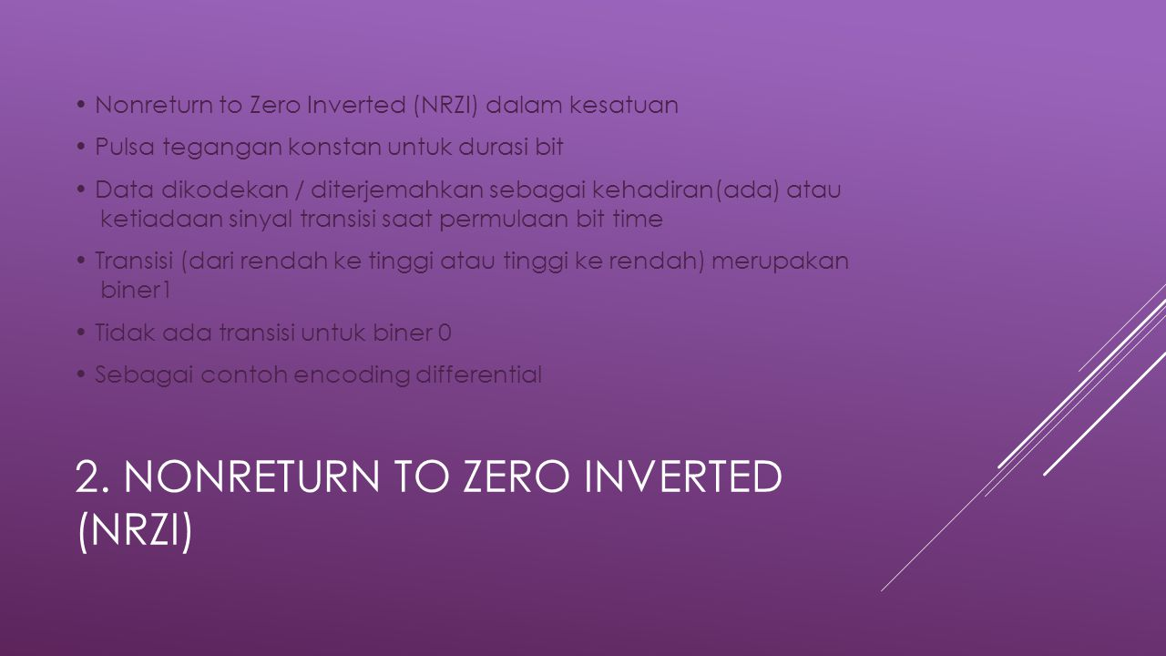 2. Nonreturn to Zero Inverted (NRZI)
