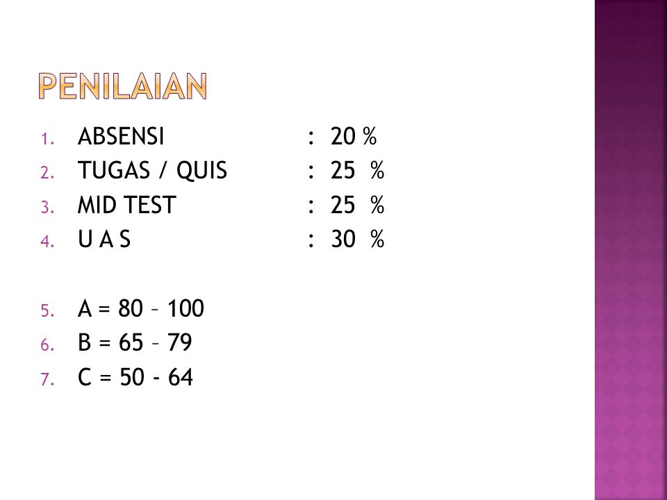 pENILAIAN ABSENSI : 20 % TUGAS / QUIS : 25 % MID TEST : 25 %