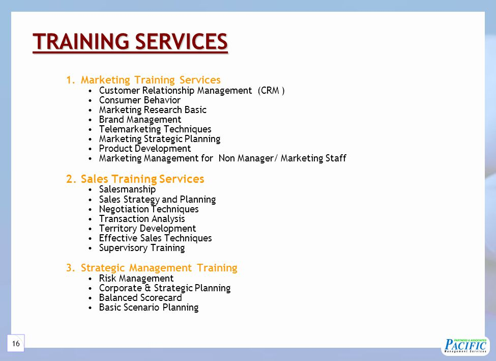 TRAINING SERVICES (Continued)