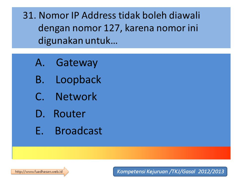 A. Gateway B. Loopback C. Network D. Router E. Broadcast