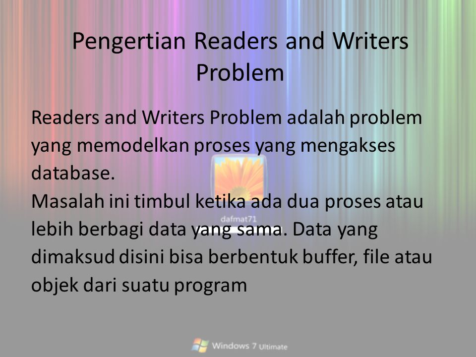 Pengertian Readers and Writers Problem