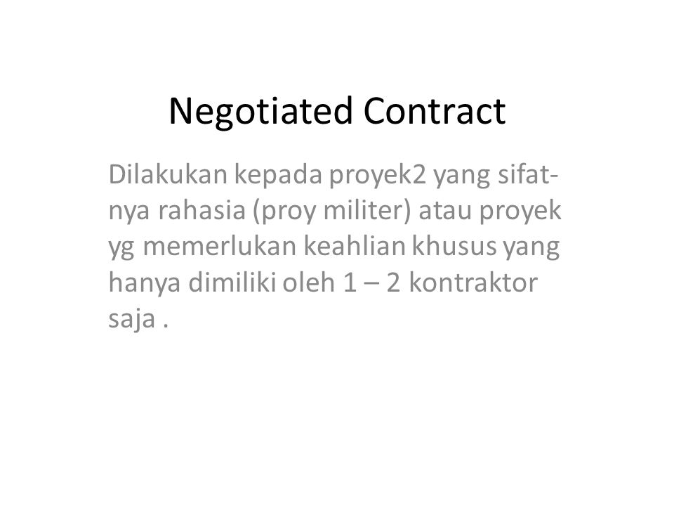 Negotiated Contract