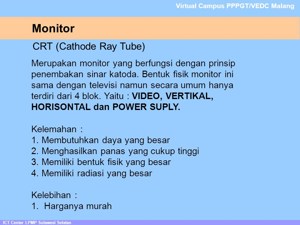 Monitor CRT (Cathode Ray Tube)