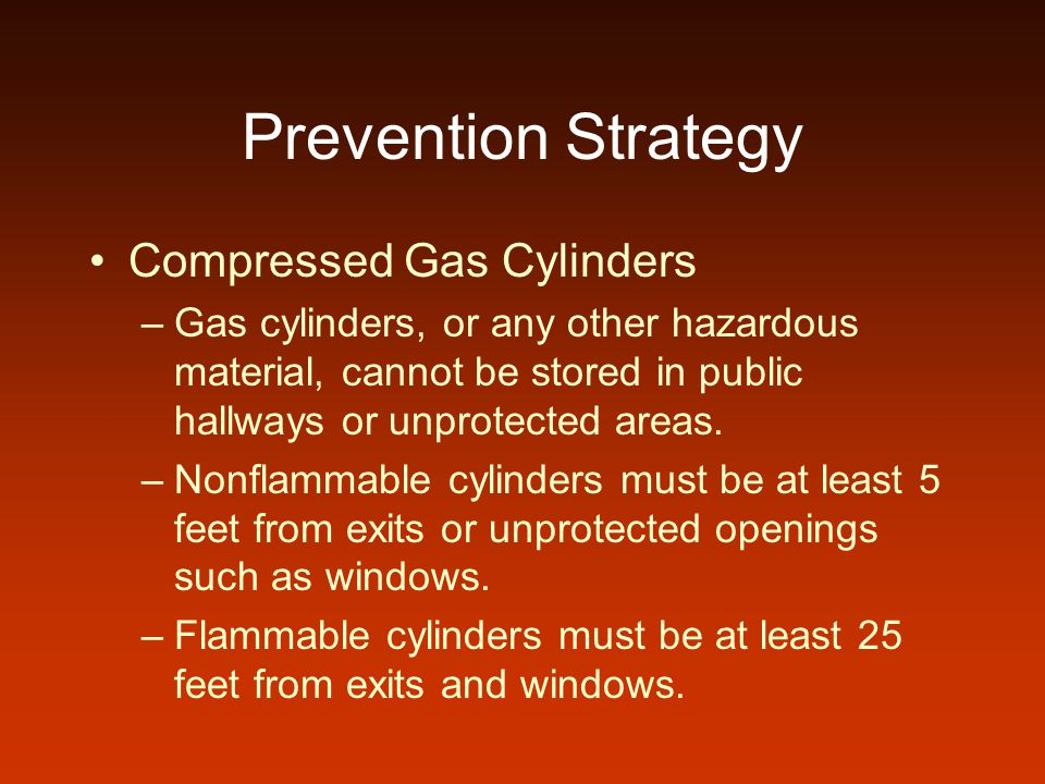 Prevention Strategy Compressed Gas Cylinders